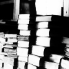 jenwryn: Stacks of books in black and white. (misc • books; black and white stacks)