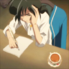 effingunicorns: a boy sitting at a desk with a quill and paper, trying to come up with something to write (what even is happening here?)