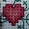 celli: a cross-stitched heart (cross stitch)