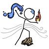 kaberett: An xkcd stick figure with a blue arrow tattooed on its head, controlling water, earth, fire and air. (xkcd)