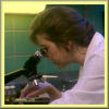 brightknightie: Natalie using her microscope in her lab. (Natalie Again)