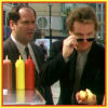 "brightknightie: Schanke and Nick at a hot dog stand (""Eating his way across town"") (Partners)"