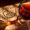naamah_darling: Glass of tawny port on a table branded with a seven-pointed star. (Port Wine and the Morning Star)