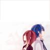 attie: Vocaloids KAITO and MEIKO leaning against each other. (vocaloid - Kaito & Meiko)