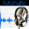 """remopodmo: Fanfiction on a white background, overlaid by a blue soundwave and a microphone. Text reads """"ReMoPodMo"""". (track 3 default)"""