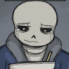 sansational: Sans, his eyes sad as he nevertheless continues his work (Trials just keep coming)