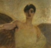 discobloodbath: painting of angel, a blurred figure with dark  hair and wings against a golden background with one arm outstretched (ek icon, my icon)