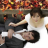 quietspring: Image: Keira Knightley and Matthew Macfadyen looking upwards, sitting on a bench, surrounded by fall leaves. (pride and prejudice)
