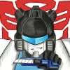 rizobact: Colored pencil headshot of Jazz in front of the Autobot logo holding a boxcutter (Default)
