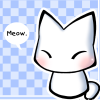 "sheofsilence: a very simple, stylized white kitty on a soft blue background, with a speech bubble that reads, ""Meow."" (Default)"