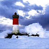 tree_and_leaf: Red and white striped lighthouse, being hit by wave (lighthouse)