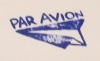 "shadowspar: Stamp image: paper airplane with caption ""Par Avion"" (par avion)"
