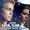 anghraine: anakin (aotc) and leia (anh)'s faces superimposed; text: some fatal flaw that we both share (anakin and leia)