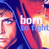 anghraine: illustration of hooded luke; text: born to fight (luke [born to fight])