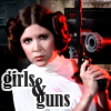 anghraine: leia holding a blaster in anh; text: girls & guns (leia [girls and guns])
