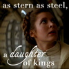 anghraine: leia in esb; text: as stern as steel, a daughter of kings (lotr) (leia [stern as steel])