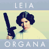 anghraine: promo shot of leia with her blaster in anh framed by text: leia organa (leia [organa])