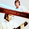 anghraine: luke with lightsaber and leia with blaster; text: children of war (luke and leia [children of war])