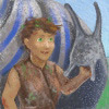 kelkyag: A woman with short brown hair and green eyes stands in front of a giant blue and grey snail (kelkyag)