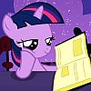 frith: Violet unicorn cartoon pony with a blue mane (FIM Twilight read)
