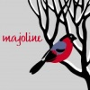 majoline: snowy bare branch with cardinal; says majoline (Winter Icon)