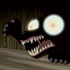 mortalcity: A wolf-like beast with sharp claws and teeth, snarling. It has beautiful (giant) eyes. (OtGW | you have beautiful eyes)