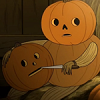 mortalcity: A pumpkin. Carving another pumpkin. Because there's nothing weird about that or anything. (OtGW | put on your vegetables)