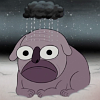 mortalcity: A giant bulldog followed by a tiny black raincloud. Raindog has had enough. (OtGW | well. that's enough.)