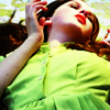 meroure: girl (Charlotte Froom) lying on her back, lime green dress and bright red lips (reminiscent of de Lempicka)