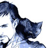 muccamukk: Inked art of Tony with a black cat on his shoulder. (Marvel: Black Cat Tony)