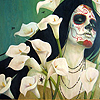 emberleo: A skull-faced woman with long black hair standing among callalilies (requiem)