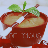 deumion: a red bowl containing a creamy dessert. (delicious~)