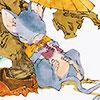 sangdeboeuf: a rat napping under a parasol (Rakushun (12 Kingdoms))