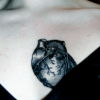 outlineofash: Photo of a chest tattoo of a human heart. (Mood - Baring the heart)