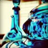meanheans: Blue glass tea kettle against a saturated white window (lord have mercy)