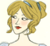 anghraine: drawing of a regency lady with dark blonde hair side-eyeing someone (darcy [f!darcy - catherine])