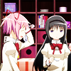 terabient: Madoka is embarrassed while Homura side-eyes her (DC: Clark Kent - frown)