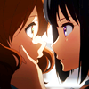 laceblade: Kumiko and Reina from Hibike! Euphonium anime, Reina holding Kumiko's face w/one hand, faces close enough to almost touch. (Glee: Pezberry couch)