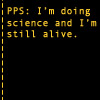 elfin: text: pps: i'm doing science and i'm alive (portal.science)