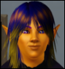 indigodragon: A photo of my persona. A golden-brown skinned man with dark blue hair, multicolored eyes, and pointy ears looks at you. (denovan, indigo, personal use, sims 3)