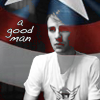 scrollgirl: b&w steve rogers overlaid with captain america shield; text: a good man (marvel steve)