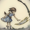 estirose: A girl reaching for a wing floating above the ground. (Kaoru Picturebook 1 - GARO Makai Senki)