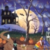 kasihya: picture of a halloween village, with a haunted house and bats and that sort of thing (halloween)