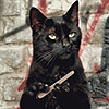 outlineofash: A cat with opposable thumbs and a speculative expression files its claws. (Mood - Filing Nails)