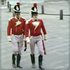 sharpiefan: Two Napoleonic era redcoat officers walking across a cobbled square (Officers)
