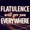 manifold: A dark icon with the text: flatulence will get you everywhere (flatulence)
