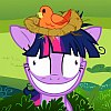 frith: Violet unicorn cartoon pony grinning like Cheshire Cat (FIM Twilight crazy)