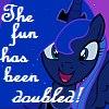 frith: Blue-grey cartoon pegacorn with light blue mane (FIM Luna fun doubled)