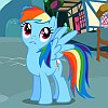 frith: Light blue cartoon pegasus with rainbow mane and tail (FIM Rainbow evasive)