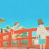 """matahari: Chihiro and Haku of Miyazaki's """"Spirited Away"""" standing on a bridge, Chihiro turning to face Haku. (Default)"""
